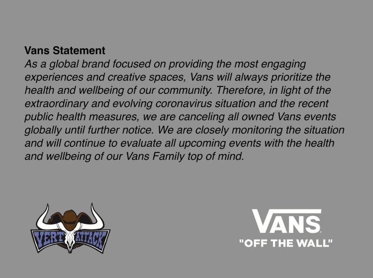 Vans events cancelled due to Corona