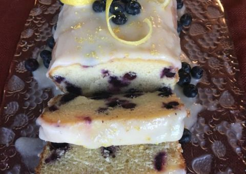 Lemon Glazed Blueberry Bread