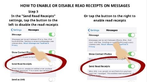 How to enable or disable read receipts on messages step 3