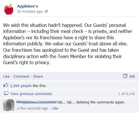 Social media outcries over Applebee's waitress being fired.