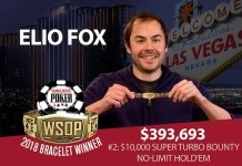 Elio Fox Wins 2018 World Series of Poker $10,000 Bounty Turbo No-Limit Hold'em Event