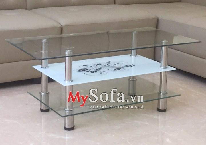 Bàn trà Sofa giá rẻ 3 tầng, mặt kính AmiA BTR119