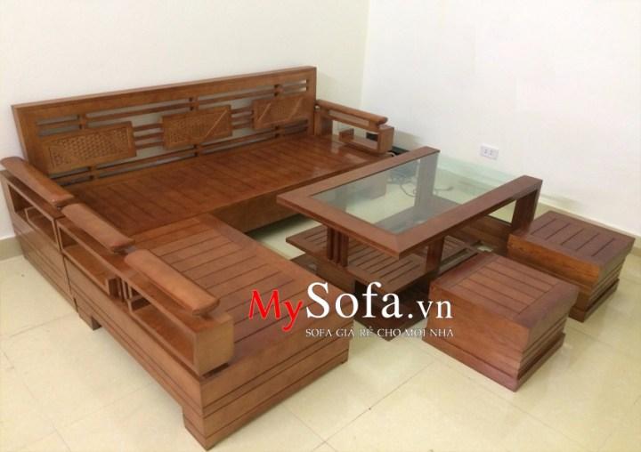 Bộ bàn ghế sofa gỗ chữ L AmiA SFG016 đẹp hiện đại và sang trọng