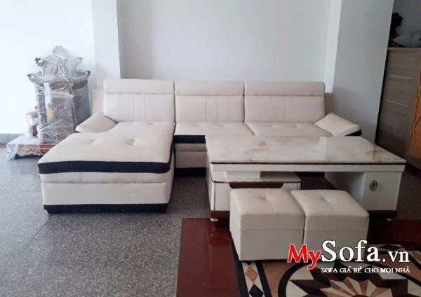 Hình ảnh bộ Sofa da giá rẻ AmiA SFD131 góc chữ L