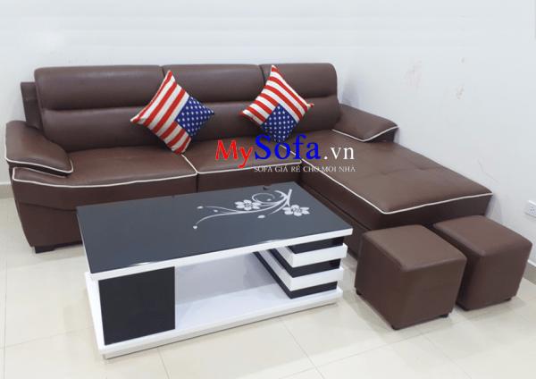Hình ảnh mẫu Sofa da AmiA SFD141 chụp tại nhà khách hàng