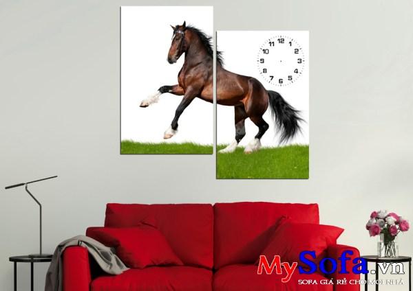 Tranh đồng hồ treo tường hình chú ngựa chiến dũng mãnh