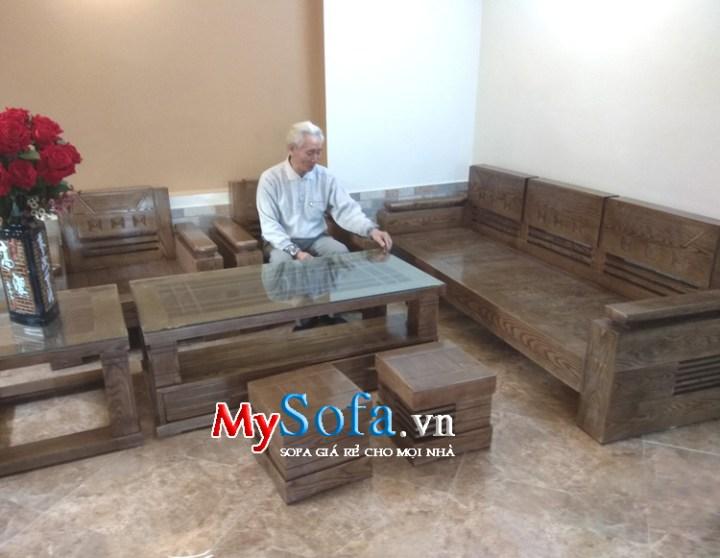 Mẫu sofa gỗ đẹp kê phòng khách chung cư gia đình
