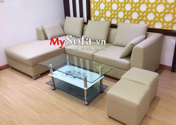 Bộ Sofa da góc AmiA SFD168 màu trắng sữa cực đẹp