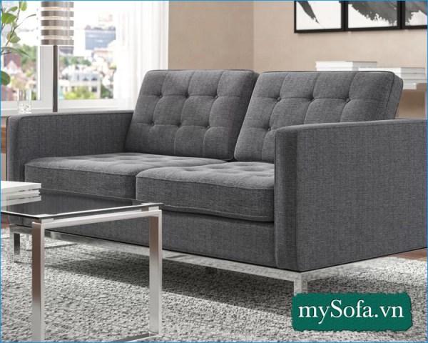 Hình ảnh Sofa văng nỉ nhỏ đẹp 2 chỗ màu ghi MyS-18304