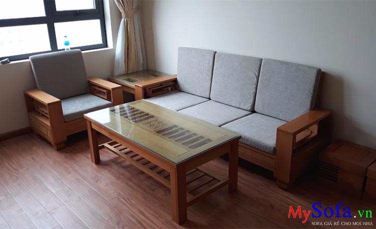 Bộ Ghế Sofa Gỗ Sồi Hiện đại Cho Nha Chung Cư Amia Sfg020a