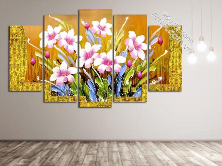 Tranh hoa ghép bộ treo phòng khách hiện đại