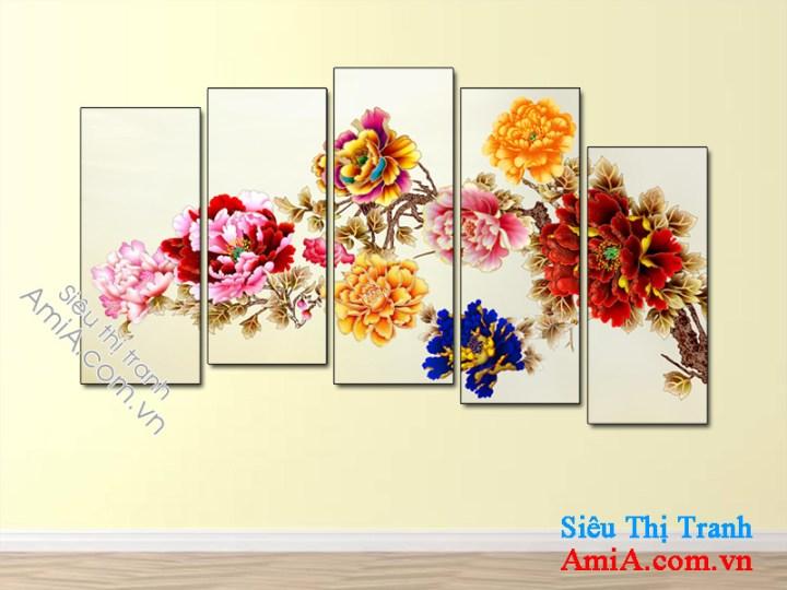 Tranh hoa mẫu đơn 9 bông đẹp và ý nghĩa rất hợp treo phòng khách gia đình