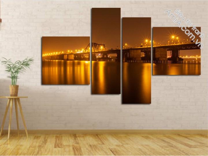 Tranh phòng khách đẹp hình ảnh cầu Long Biên Hà Nội