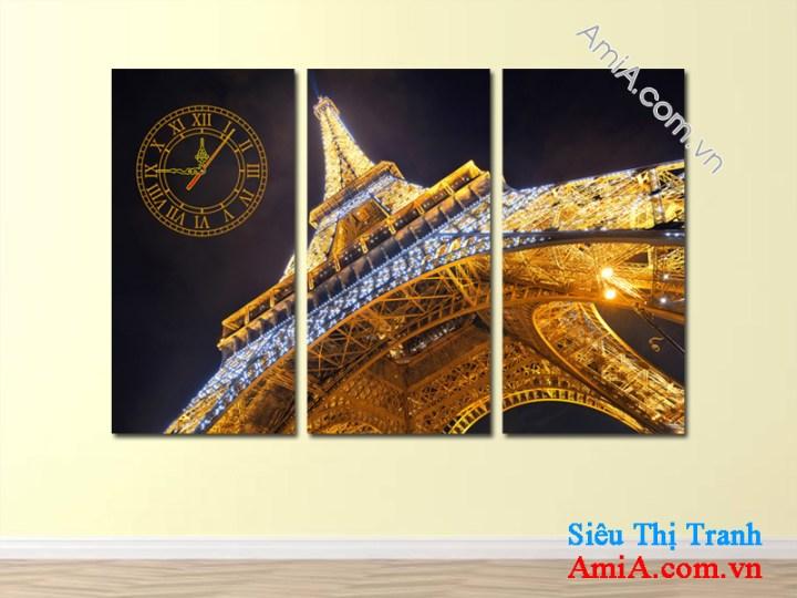 Tranh treo phòng khách hiện đại hình ảnh tháp Eiffel Paris