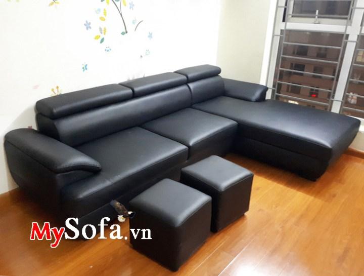 Bộ ghế sofa da kê phòng khách có màu đen
