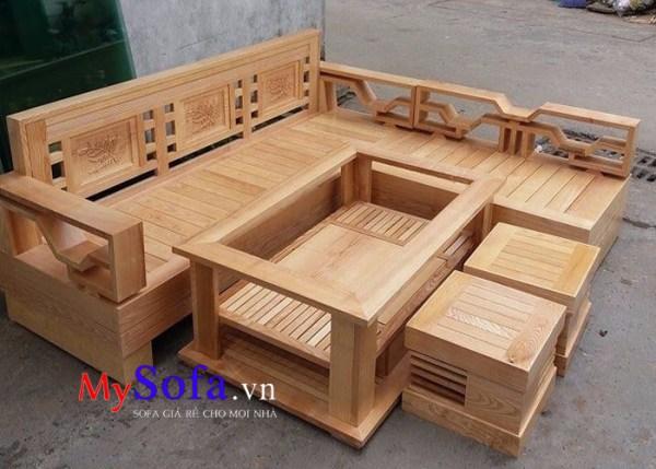 Ghế sofa gỗ sồi đẹp màu sắc sáng tự nhiên