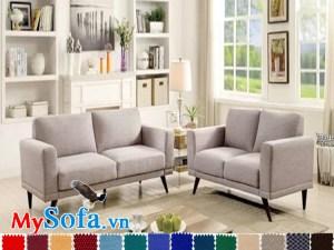 bộ ghế sofa nỉ văng đẹp loại 2 chỗ chân cao hiện đại