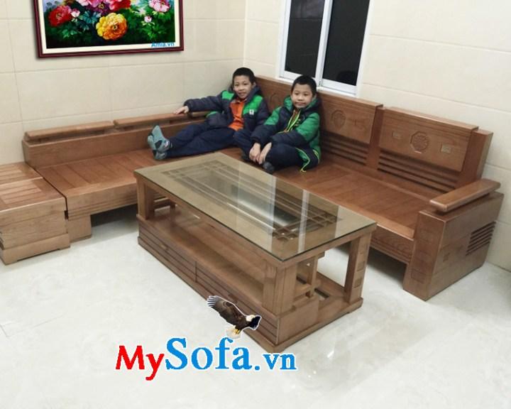 Ghế sofa góc chữ L làm từ gỗ tự nhiên đẹp