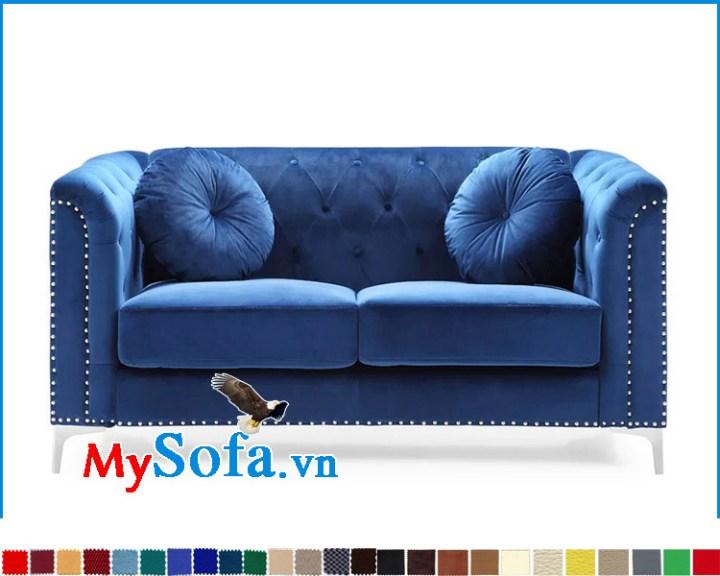 Ghế sofa màu xanh dáng tân cổ điển