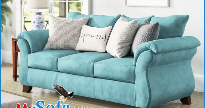 Ghế sofa nỉ đẹp màu xanh trẻ trung