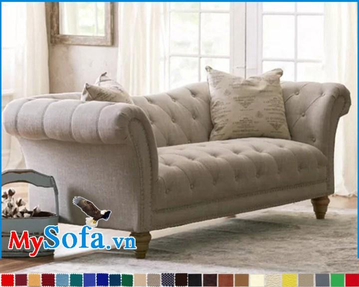Ghế sofa tân cổ điển bọc nỉ màu ghi sáng