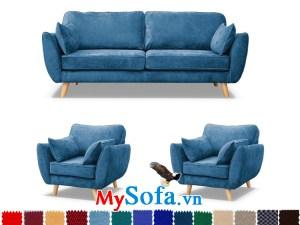 sofa văng nỉ có màu xanh biển lạ mắt, tạo sự trẻ trung năng động