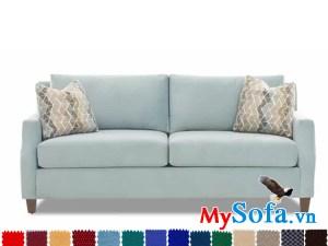 ghế sofa nỉ dạng văng đẹp màu xanh tươi sang
