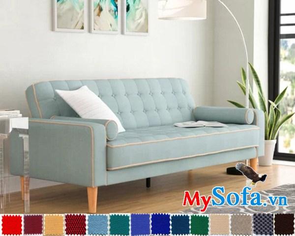 mẫu sofa văng bọc nỉ có màu xanh lạ mắt và thanh lịch