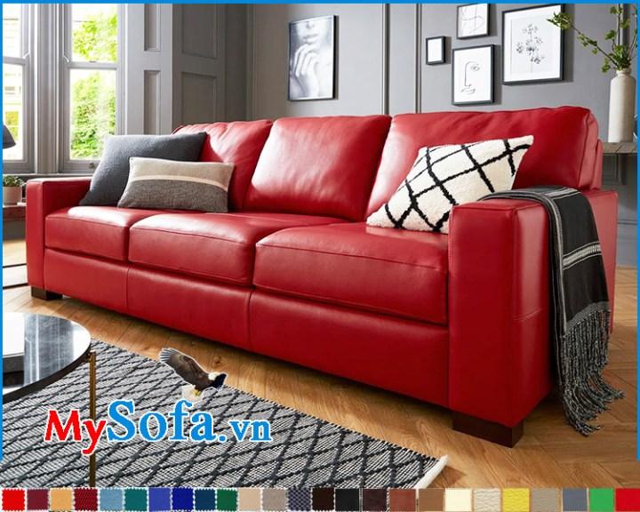 Mẫu ghế sofa văng da đẹp màu đỏ