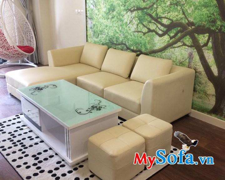 Ghế sofa da đẹp kích thước nhỏ gọn mini