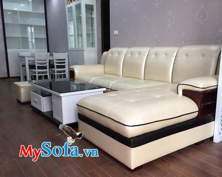 Ghế sofa da màu trắng dạng góc chữ L