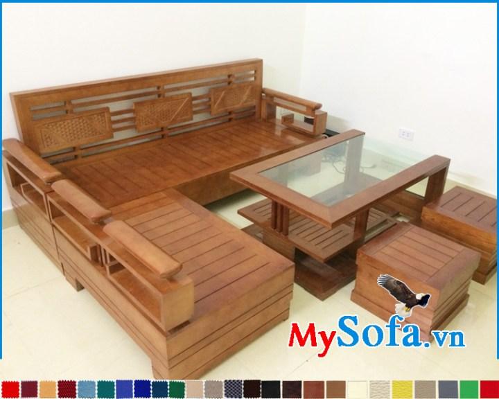 Sofa gỗ tự nhiên cho phòng khách hiện đại