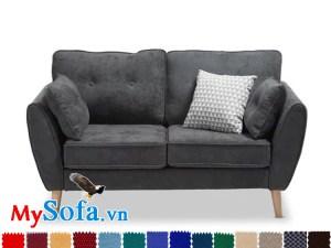 mẫu ghế sofa văng 2 chỗ ngồi cực gọn nhẹ MyS 061933 sở hữu lớp nỉ nhung mềm mại