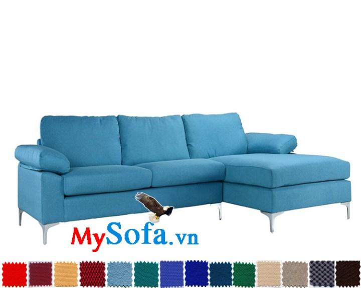 Ghế sofa góc chữ L màu xanh