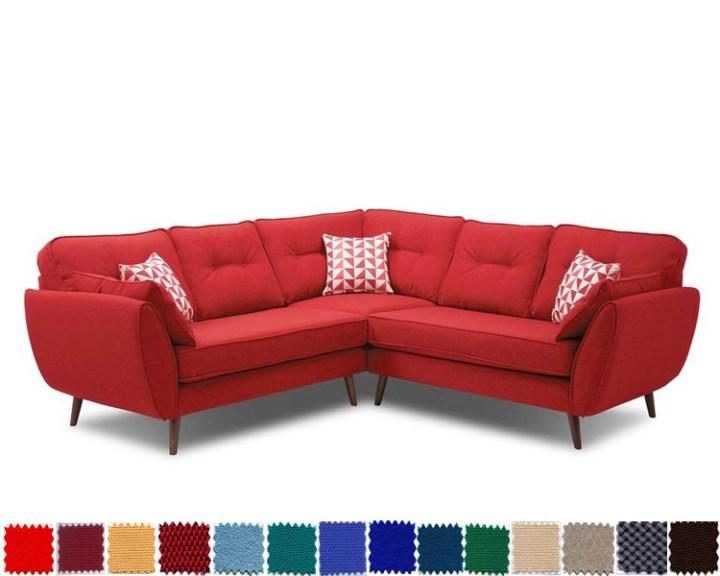 Sofa góc nỉ màu đỏ cực nổi bật cho phòng khách MyS-1910939