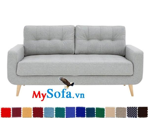Sofa văng nỉ nhỏ gọn màu ghi sáng cho phòng khách hiện đại