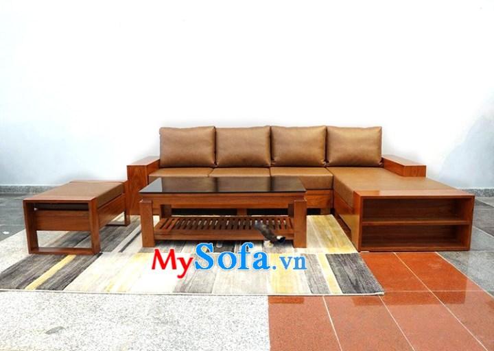 Hình ảnh Ghế sofa gỗ chữ L kèm đôn ghế nhỏ đẹp hiện đại