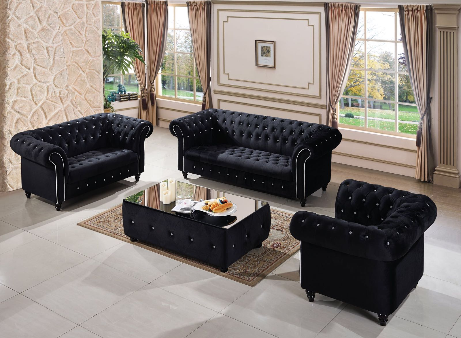 Kensington Black Chesterfield 3 2 1 Suite My Sofa World