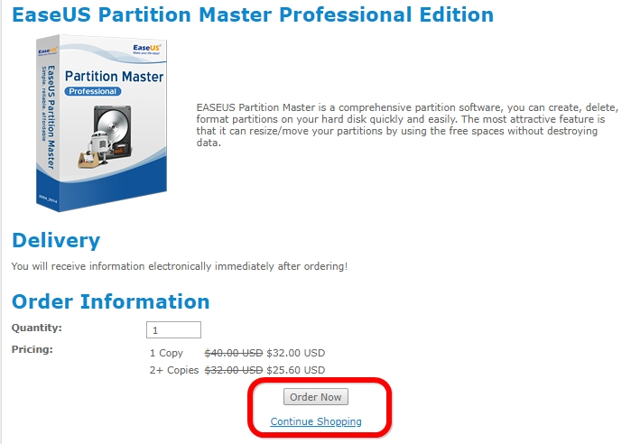 Discount for EaseUS Partition Master Professional Edition