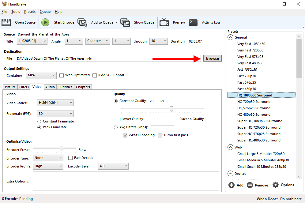 compress bluray to h264 output option