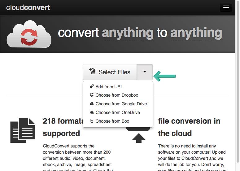 CloudConvert Add File