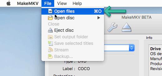 MakeMKV Open Files
