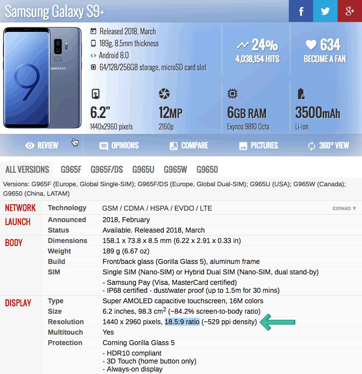 Galaxy S9 Plus Ratio