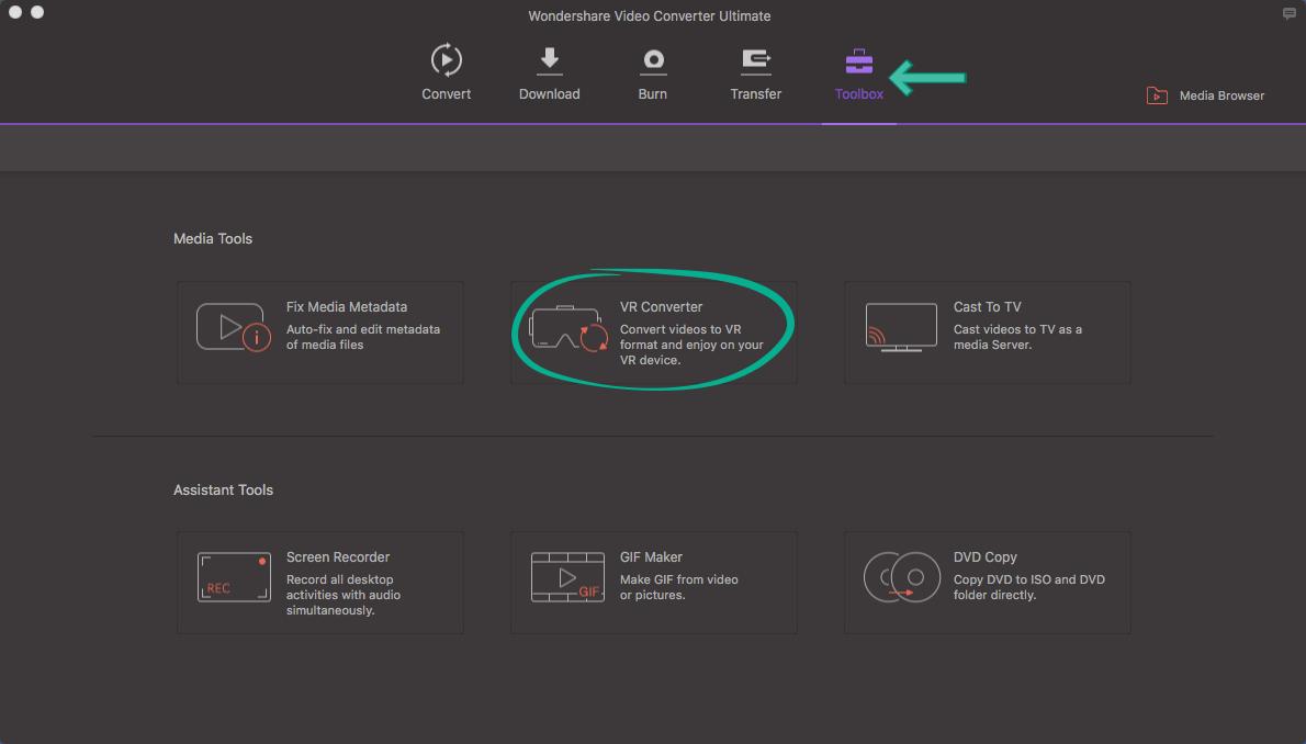 Wondershare Toolbox VR Converter