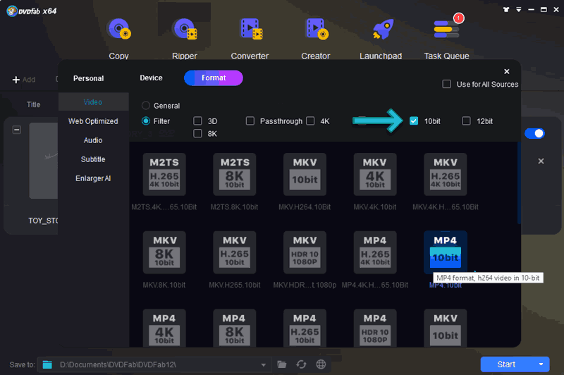 DVDFab 10-bit Profiles