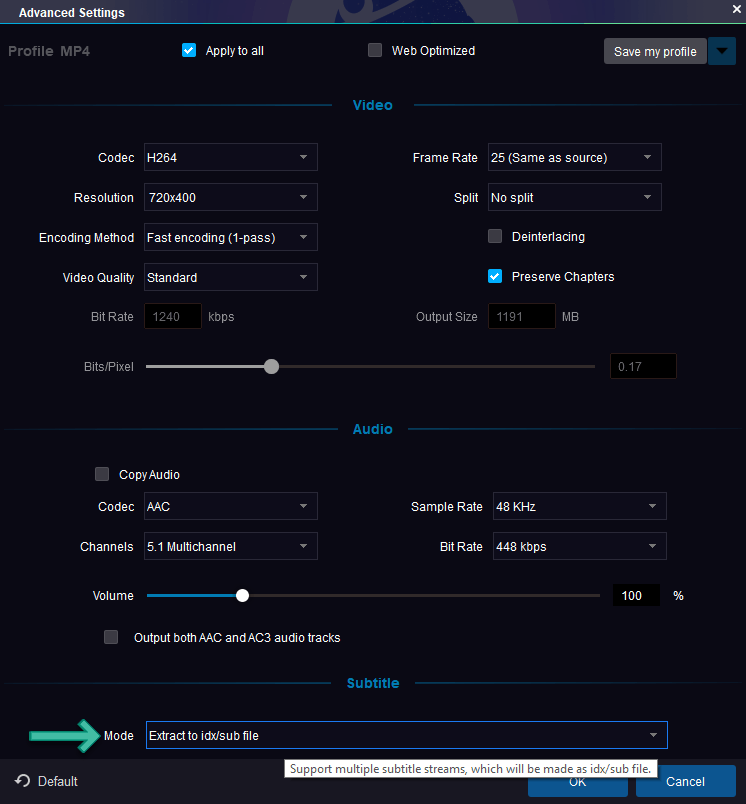 DVDFab Advanced Settings for Subtitle
