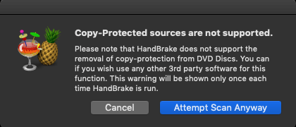 Handbrake does not support protected DVDs