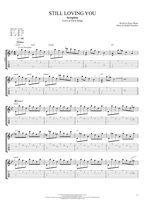 Still Loving You Chord : still, loving, chord, Still, Loving, Scorpions, Score, Guitar, MySongBook.com