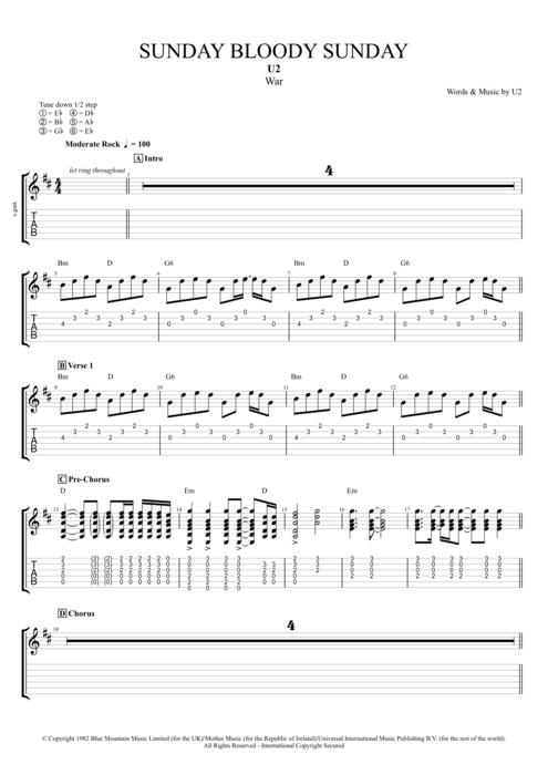 SUNDAY BLOODY SUNDAY TAB (ver 4) by U2 @ Ultimate-Guitar.Com