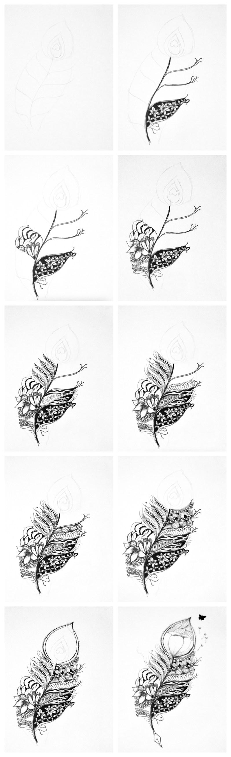 feather zentangle inspired art